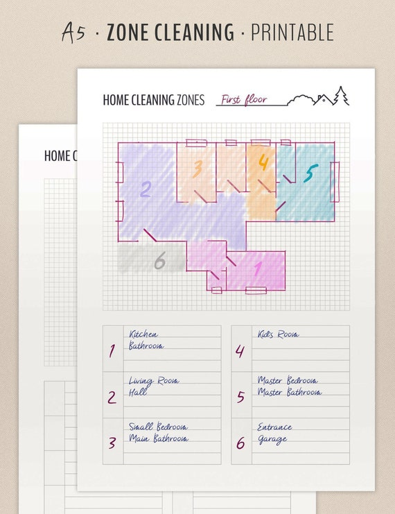 Zone Cleaning Planner Cleaning Schedule Printable Inserts Etsy