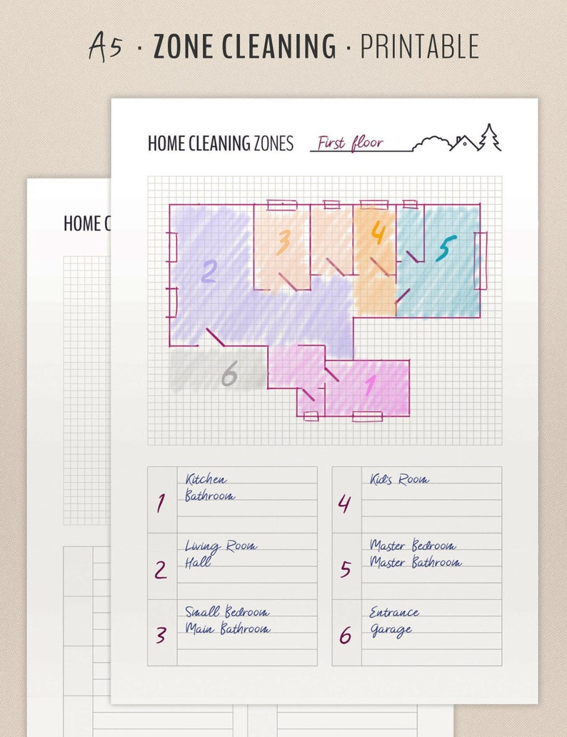 Zone Cleaning Planner / Cleaning Schedule / Printable Inserts image 0