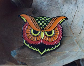 Fall Owl Pin - Owl Enamel Pin - Animal Enamel Pin - Owl Lapel Pin - Night Owl Pin - Insomniac Enamel Pin - No Sleep Pin - Autumn Owl Badge