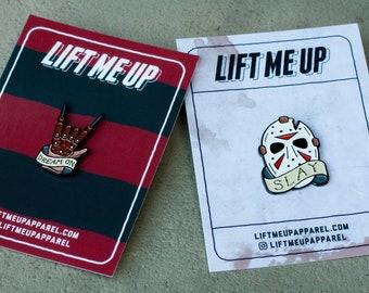 Freddy Vs Jason Pin Set - Freddy Krueger - Jason Voorhees - Enamel Pin - Friday the 13th - A Nightmare on Elmstreet - Pin Badge - Horror Pin