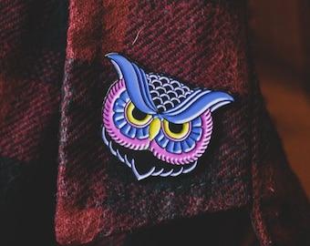 Purple Owl Pin - Owl Enamel Pin - Animal Enamel Pin - Owl Lapel Pin - Night Owl Pin - Insomniac Enamel Pin - No Sleep Pin - Owl Lover Badge