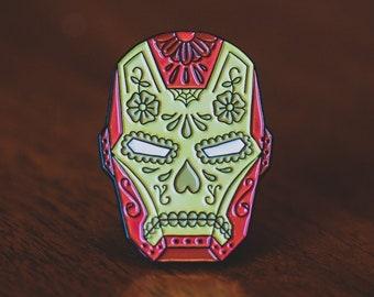 Iron Man Pin - Enamel Pin - Comic Book Pin - Iron Man Helmet - Marvel - Sugar Skull - Lapel Pin - Tattoo Art - Tony Stark - Avengers - Badge