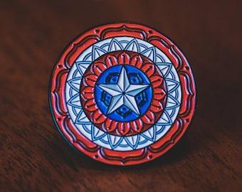 Captain America Pin - Enamel Pin - Comic Book Pin - Captain America Shield Pin - Marvel - Marvel Pin - Lapel Pin - Mandala - Avengers