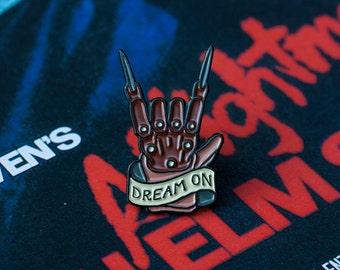 Freddy Krueger Pin - Freddy Krueger Glove - Nightmare on Elm Street - Horror Enamel Pin - 80's Horror Lapel Pin - Wes Craven Pin - Dream On