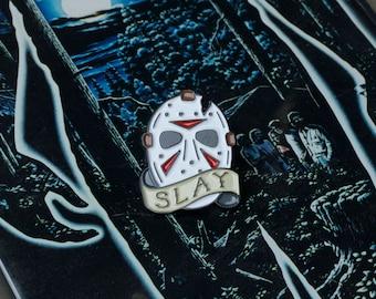 Friday the 13th Pin - Jason Voorhees Enamel Pin - Jason Mask Lapel Pin - 80's Horror Pin - Slasher Mask - Thriller Pin - Slay All Day Flair