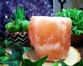 Himalayan salt rock candleholder, tea light candleholder, air purifier, natural stone, crystal decor
