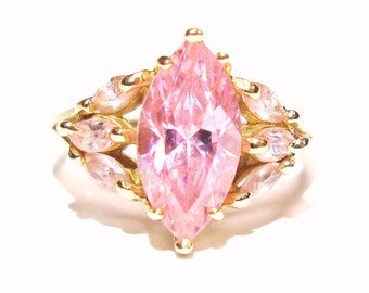 14k Yellow Gold Genuine Marquise Pink Sapphire Burst Dome Design Ring Size 6.25