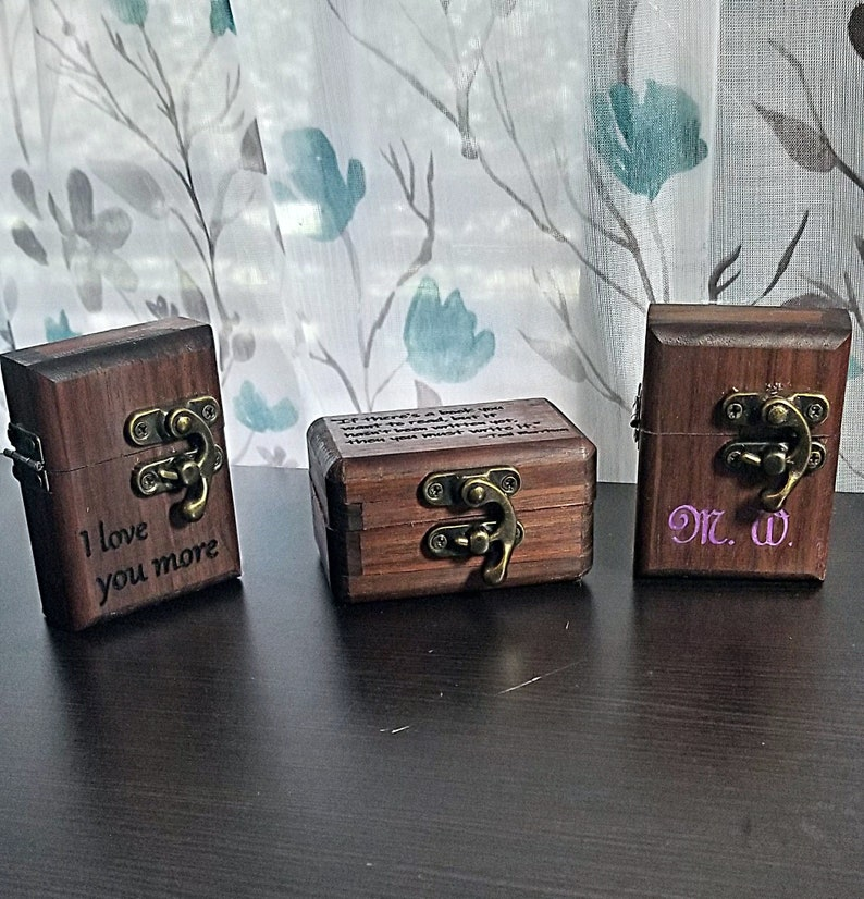 Handmade Ring Hand-carved Glow-in-the-dark Inlay Gift Box Available FREE UV Light Maple with Opal /& Glow Inlay on Black Ceramic