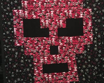 Pink Skull Flannel Quilt