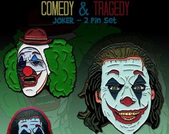 "Joker 2 Pin Set ""Comedy & Tragedy"" Joaquin Phoenix"