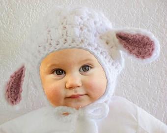 Newborn to 6m Lamb Hat, Ready to Ship, Baby Lamb Hat, Baby Sheep Hat, Baby Photo Prop, Baby Shower Gift, Baby Beanie Winter Hat