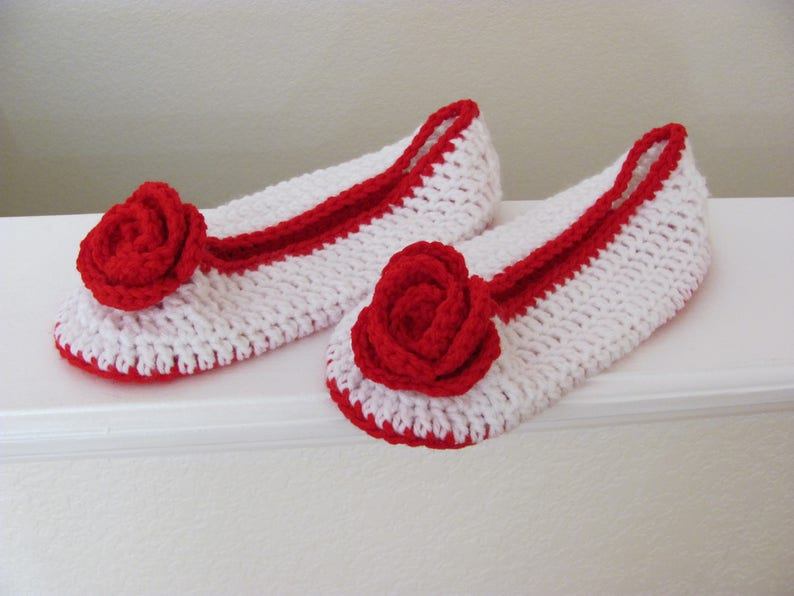 bbe3419d2 White Red Slippers Women Shoes Red Rose Embellishment House   Etsy