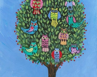 Spring Owls in a Tree