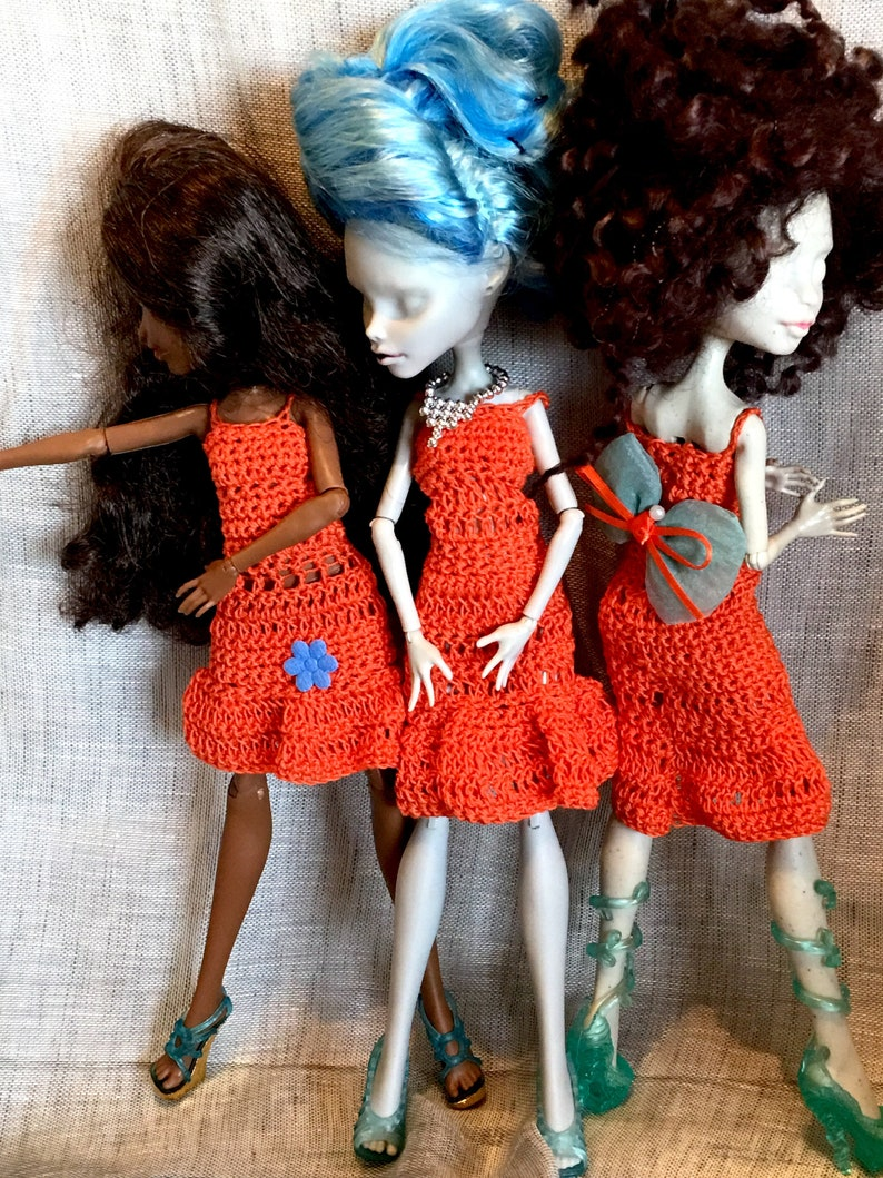 e99a7e3675beb Doll monster ever after high-Pullip-3 Orange crochet dresses