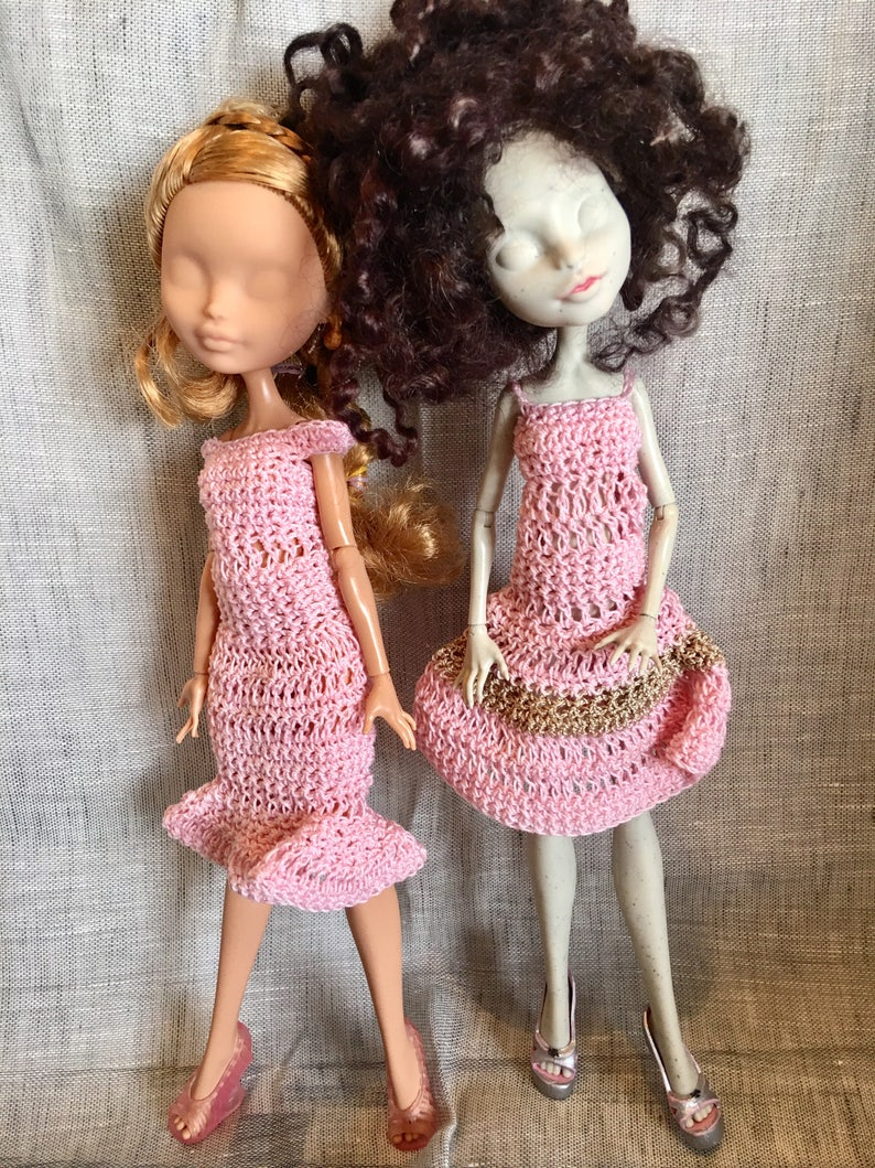 f3551d3f2e69a Doll Outfit - Ever after High - Pullip - crochet 2 dresses in pink