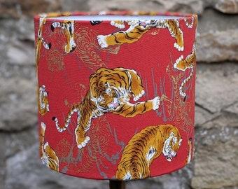 Tiger Fabric Lampshade. Drum Lamp shade. Light shade. Red. Orange. Gold. Cats. Japanese.