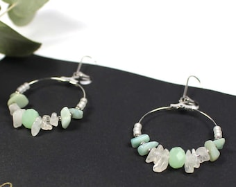 BAHIA inspiration earrings ethnic/Native American stones semi precious amazonite Crystal shades of green
