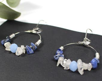 BAHIA inspiration earrings ethnic/Native American stone semiprecious sodalite Crystal shades of blue