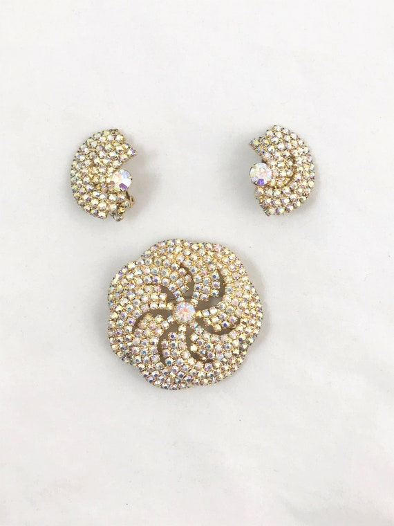 Vintage AB Rhinestone Brooch and Earring Set
