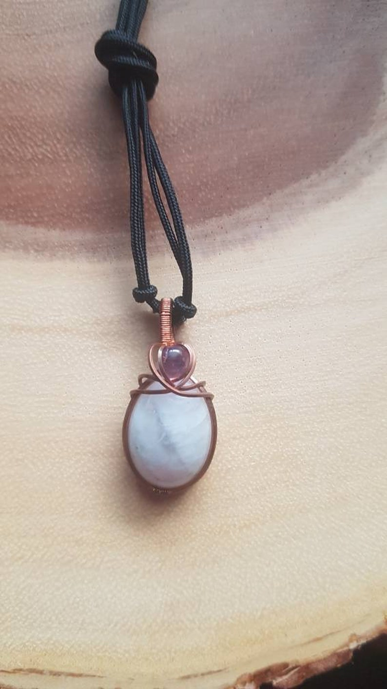 Wire wrapped moonstone pendant Raw copper wirewrapped jewelry Wirewrapped amethyst pendant Moonstone and amethyst necklace