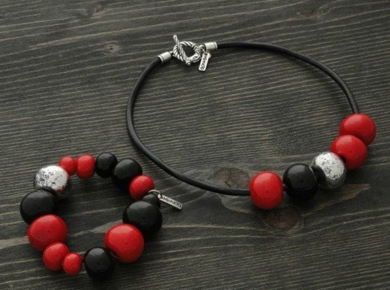 Clear White Black with Red Leather Cord Art Glass Neckless \u2013 Handmade \u2013 Red