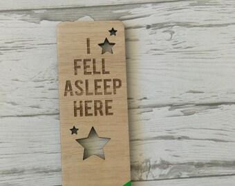 Laser cut Tasmanian Oak veneer Bookmark with pop of colour. I fell asleep here
