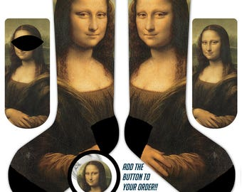 s03 - Da VINCI - MONA LISA - 11' Crew or Ankle Socks and Button - Famous Painting Art Socks
