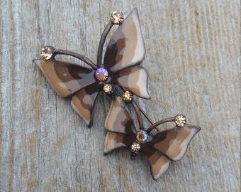Brown Enamel and Rhinestone Butterflies Brooch