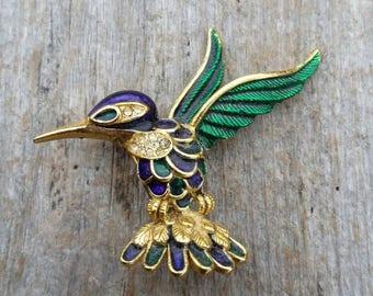 Sphinx Rhinestone and Enamel Hummingbird Brooch
