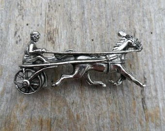 Silver Tone Harness Racing Driver and Horse Brooch