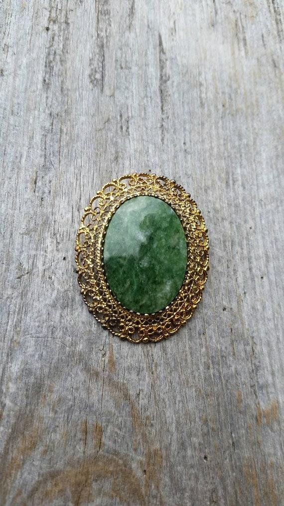 Midcentury Karen Lynne Sterling Silver Gold Vermeil and Nephrite Jade Brooch or Pendant