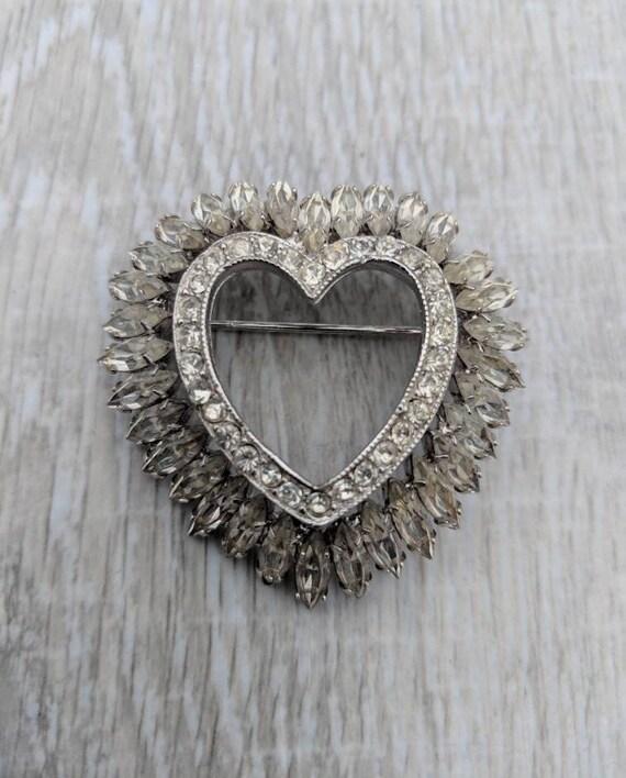 Hobé 1965 Rhinestone Heart Brooch