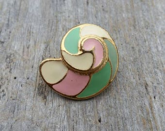 Cream, Pink, and Mint Enamel Spiral Shell Brooch