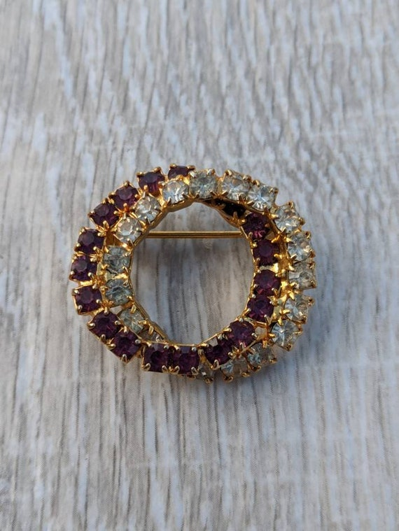 Byzantium Purple and Clear Rhinestone and Gold Ton