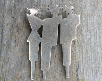 Sterling Silver Three Figures Silhouette Brooch