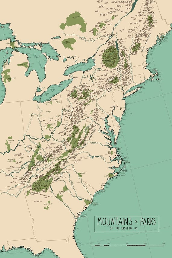 Map of Eastern US\'s Parks and Mountains