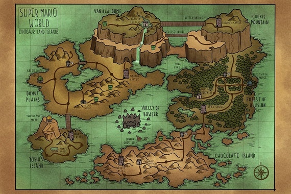 A Map of Super Mario World's Dinosaur Land Map Of Super Mario on map of moshi monsters, map of fire emblem, map of oregon trail, map of kingdom hearts, map of sports, map of pokemon, map of sesame street, map of luigi's mansion, map of angry birds, map of baseball, map of hello kitty,