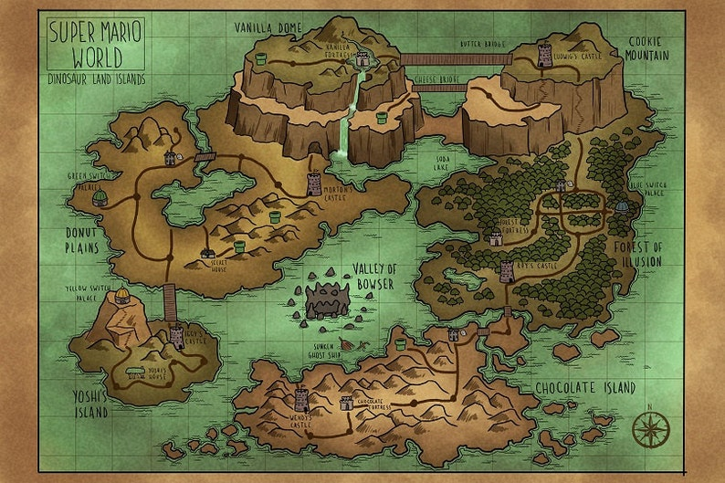 A Map of Super Mario World\'s Dinosaur Land