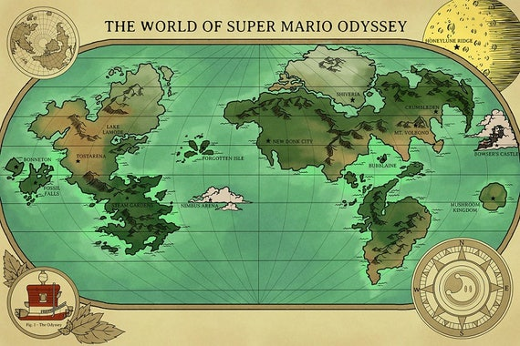 A Map of Super Mario Odyssey's World | Etsy