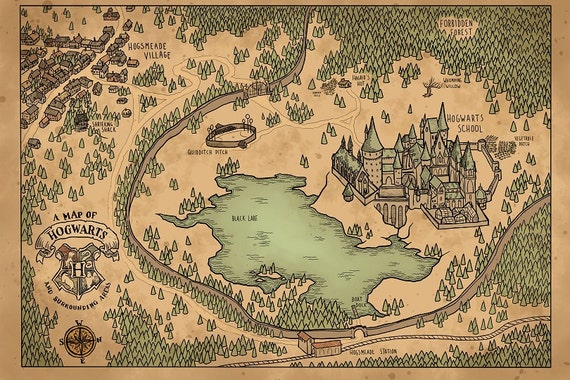 Map Of Hogwarts A Map of Hogwarts and Surrounding Areas | Etsy Map Of Hogwarts