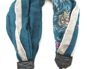 Teal Floral Scarf Camera Strap/DSLR Camera Strap/Camera Accessory/Photographer Gift/Travel Gear