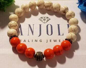 Tennessee Vols Orange and White Howlite Beaded Bracelet, UT Bracelet, Healing Jewelry, Gift for Her, BOHO Jewelry, Sports Jewelry