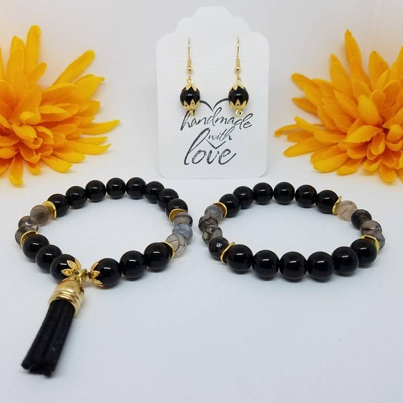 Birthday Gift FREE U.S Gift for Daughter Natural Stones Dragons Vein Bracelet SHIPPING Black Jade Bracelet Gift Set Root Chakra Stones
