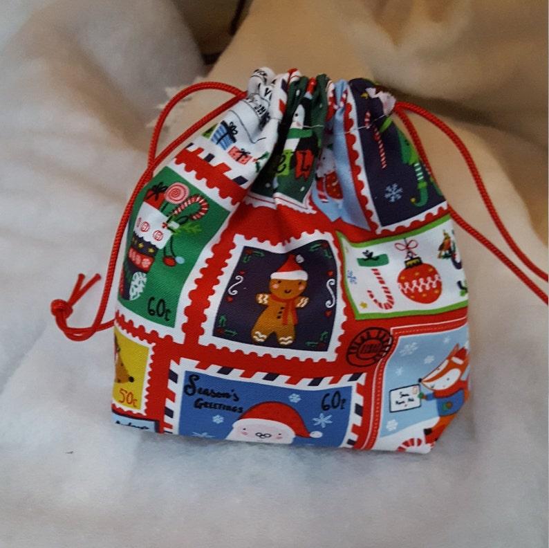 Drawstring Backpack Postage Stamp Shoulder Bags