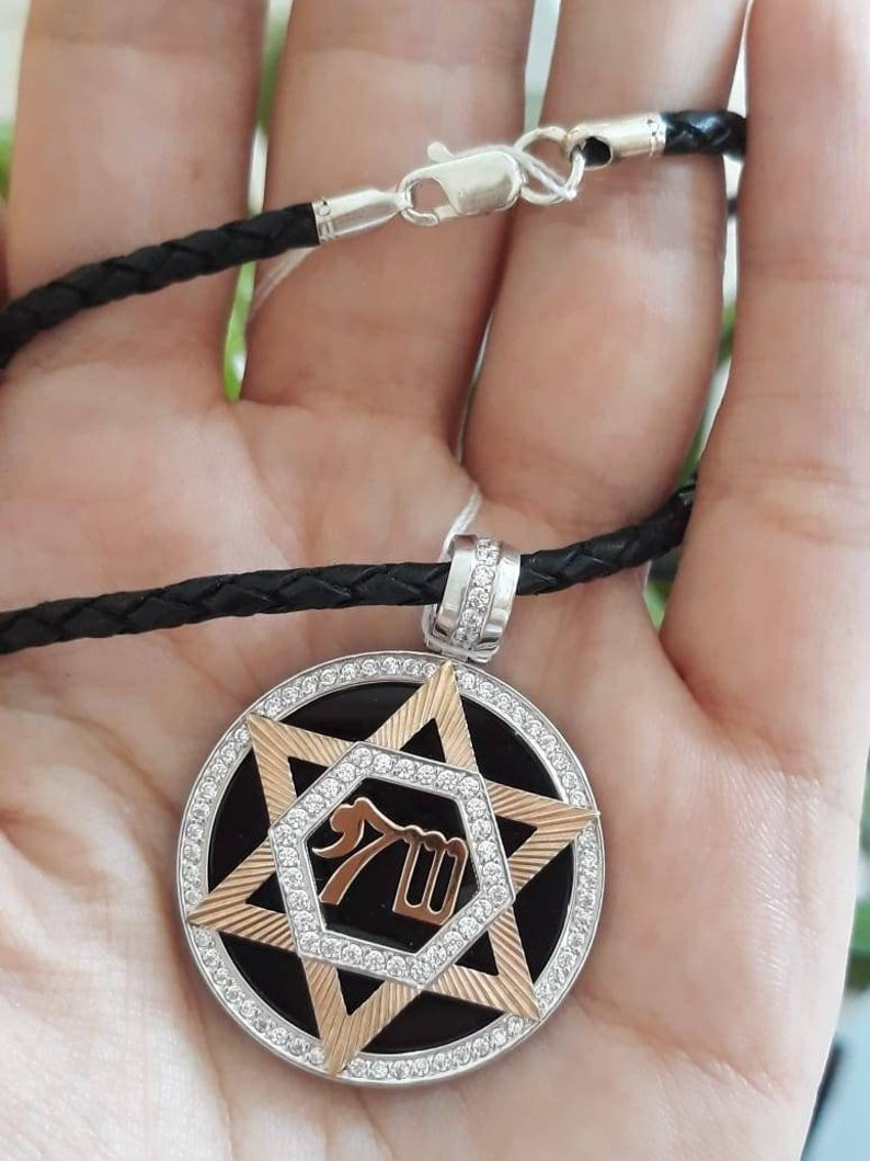 Large Star of David Necklace Silver David Star Sterling Silver Pendant of the Star of David Rose Gold Plated and a SilkLace Chain