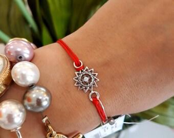 Red Thread Bracelet with Silver Erzgam Star - Erzgam Star Silver Bracelet