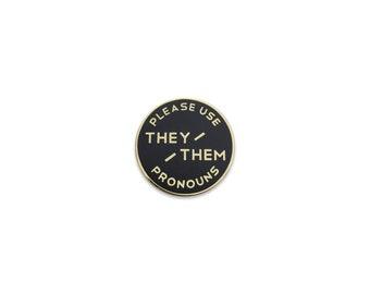 Small They / Them Enamel Pronoun Pin - Black