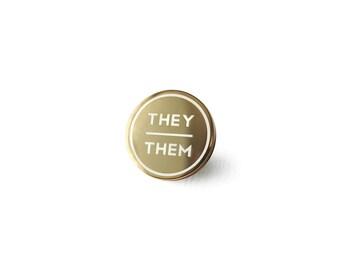 Small They / Them Enamel Pronoun Pin: Gold