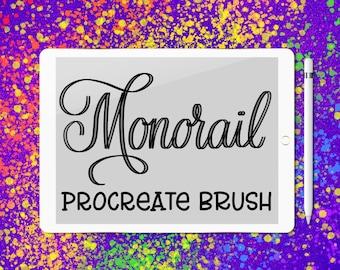 Monorail lettering brush for Procreate