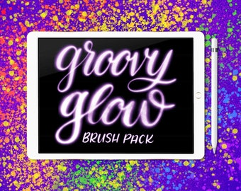 Groovy Glow brush pack for Procreate lettering